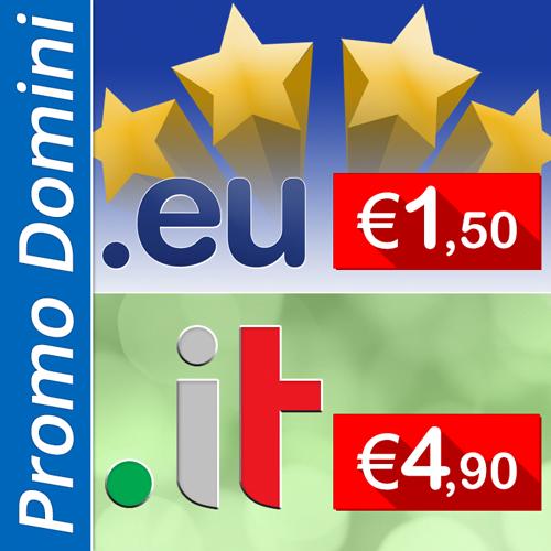 Domini .it a €4,90, .eu a € 1,50 e tanti altri
