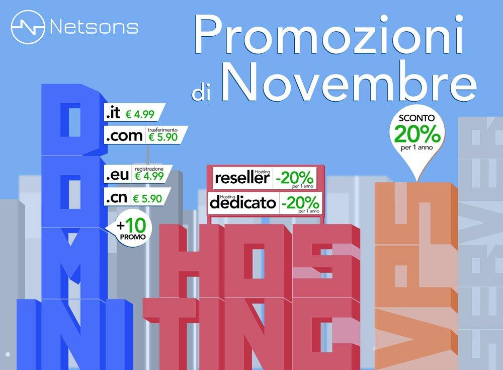 Promozioni Hosting e domini di novembre