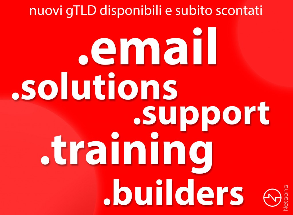 Domini .email, .solutions, .support, .training e.builders
