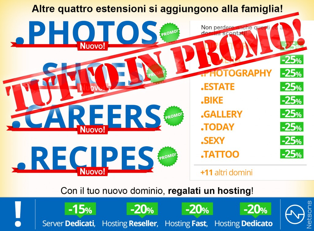 Nuovi gTLD .photos, .shoes, .careers, .recipes