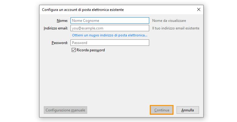 thunderbird configura email campi da compilare