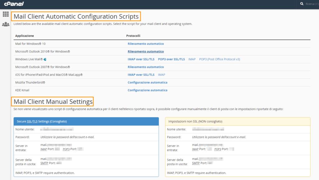 email cpanel configurazione automatica e manuale