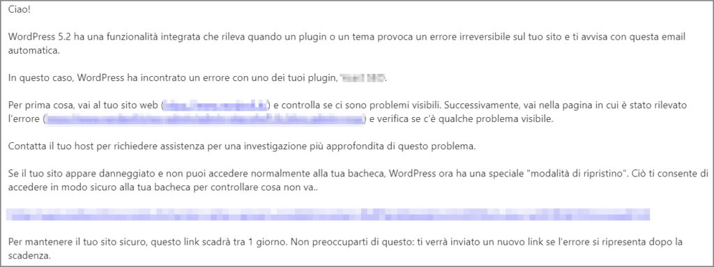 wordpress email notiifca errore