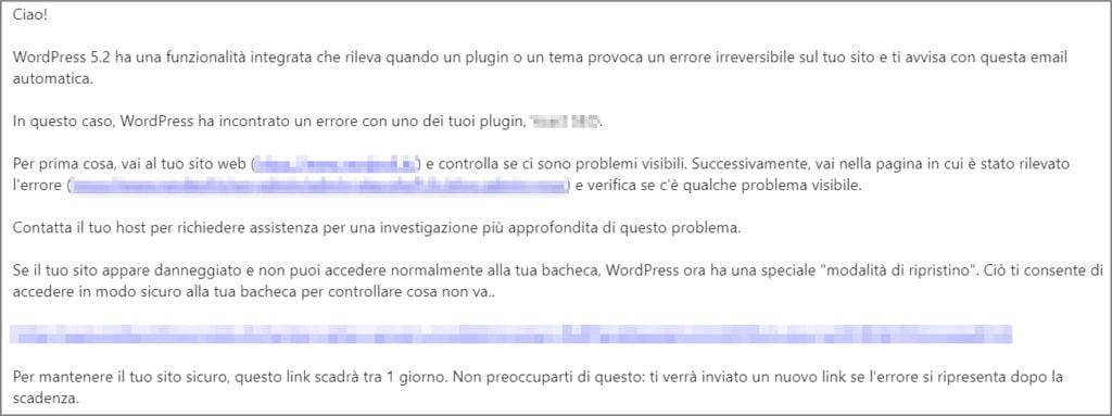 wordpress email notiifca errore