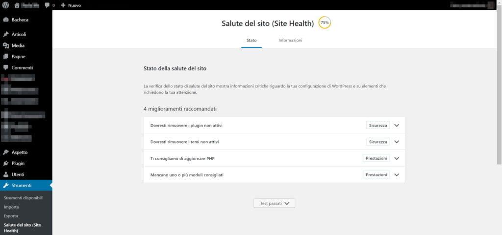 wordpress schermata salute del sito