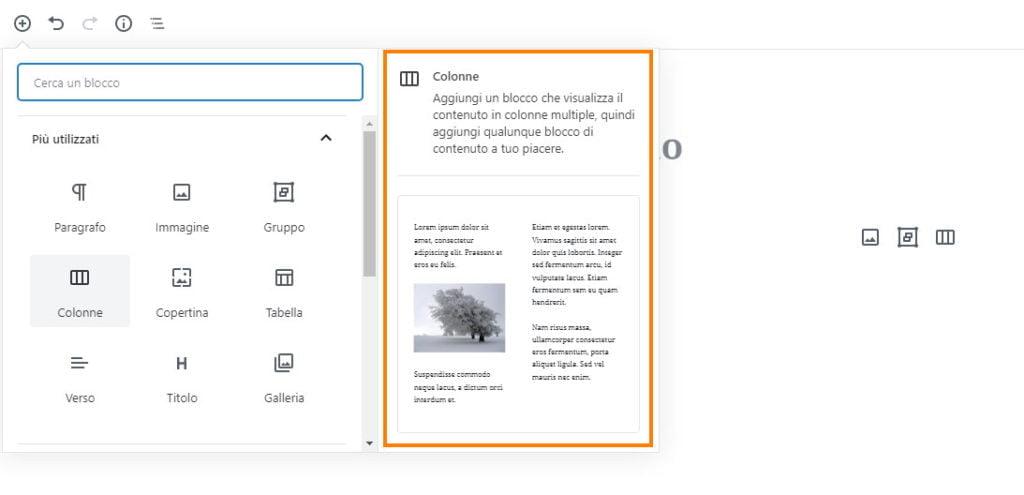 wordpress aggiornamento 5.3 anteprime blocchi