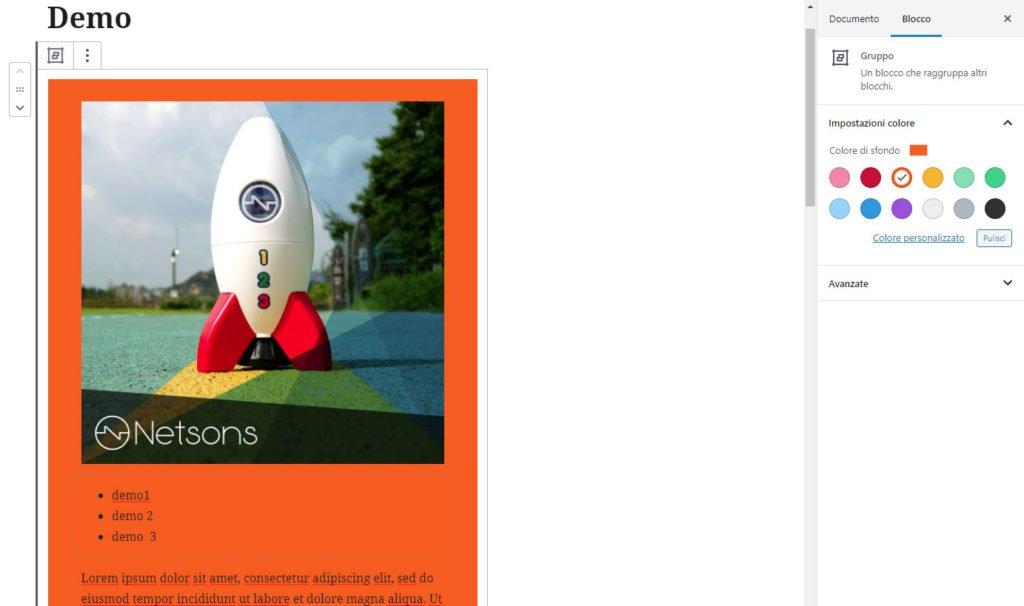 wordpress aggioramento 5.3 blocco gruppo colori