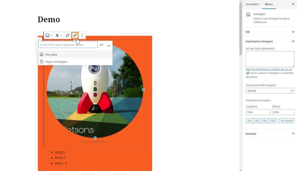 wordpress aggiornamento 5.3 immagini link a file media