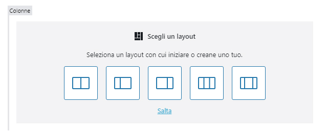 wordpress 5.3 colonne layout