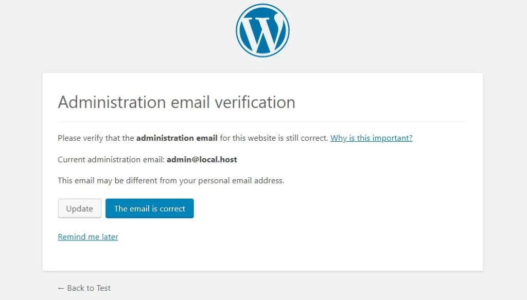 wordpress aggiornamento 5.3 verifica email amministratore