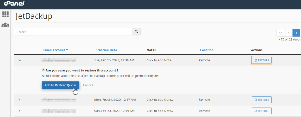 jetbackup email backups