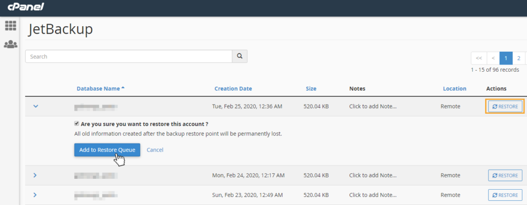 jetbackup restore database