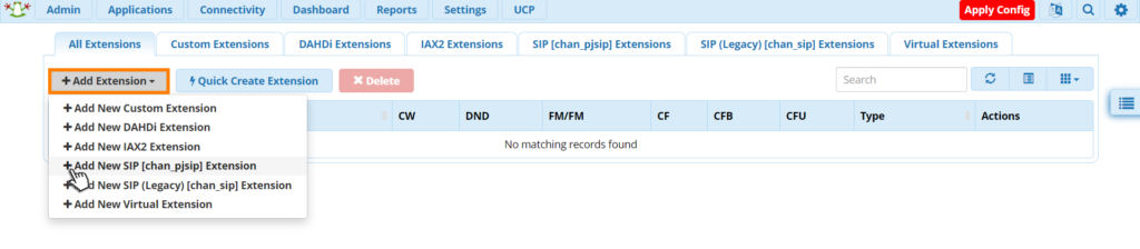 centralino freepbx add extensions