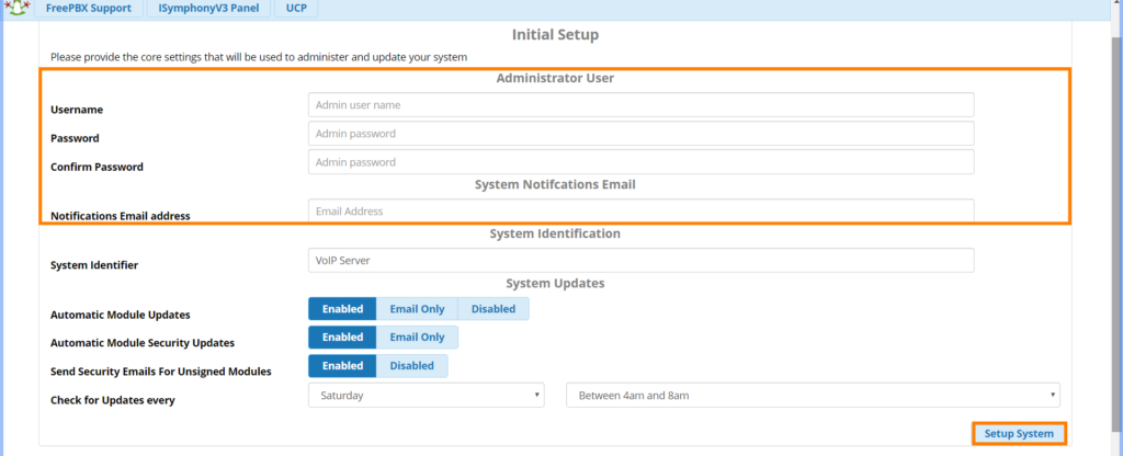 centralino freepbx setup iniziare admin