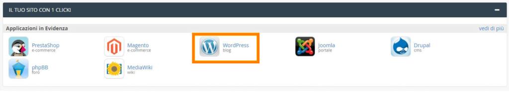 wordpress il tuo sito con un click cpanel