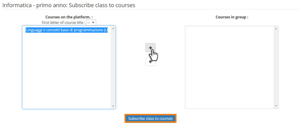 chamilo aggiungi corso a classe