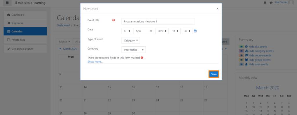 moodle calendario imposta evento