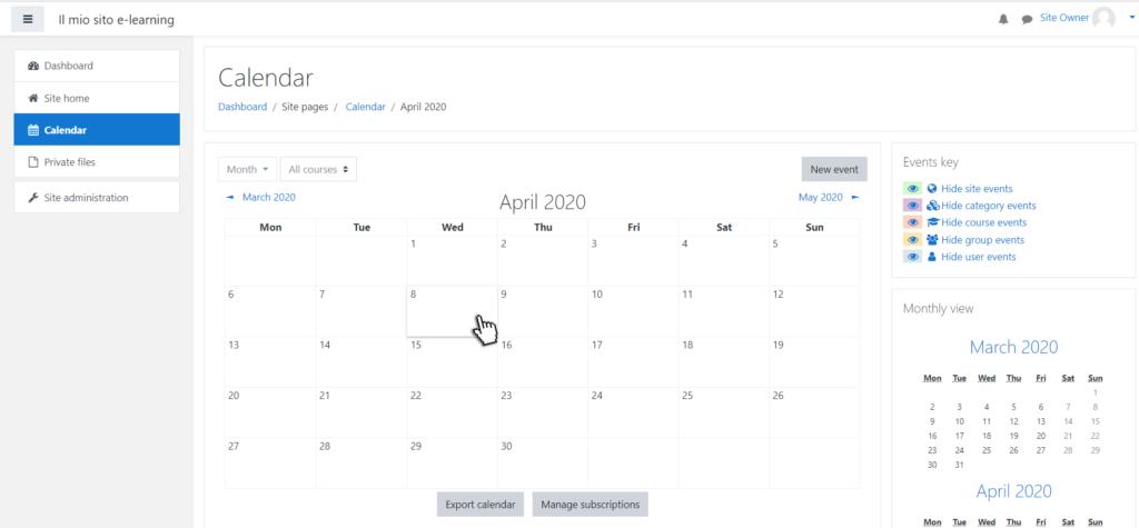 moodle calendario