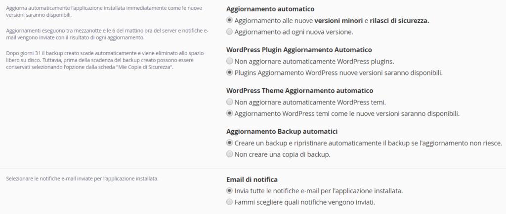 wordpress cpanel aggiornamenti automatici