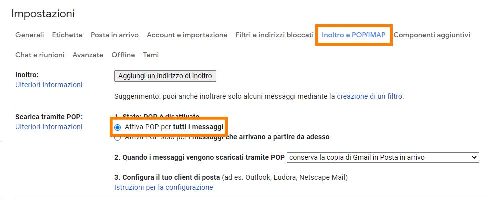 gmail impostazioni attiva pop