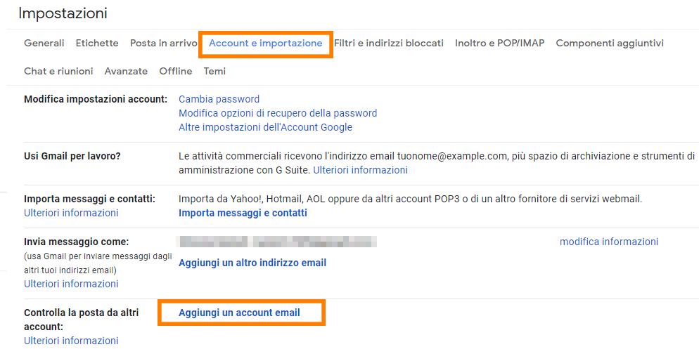 gmail aggiungi un account email