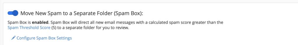 sposta spam in una casella separata