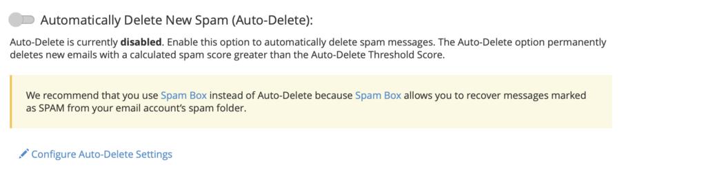 configurazione auto delete new spam